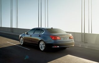 Image of the 2017 Acura RLX Hybrid back exterior in Graphite Luster Metallic